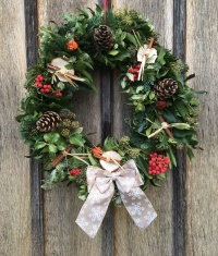 Fresh Christmas Wreath with Natural Snowflake Bow
